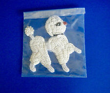 Vintage White Poodle Dog Sequin & Seed Bead Applique Year of the Dog New Wrapped