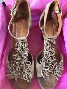 Chie Mihara Revoir Sand Suede Tassle Design Platform Sandals 37 + Box Boho