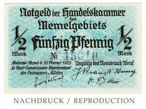 Memelgebiet 1/2 M Notgeld der Handelskammer 1922 = Ro.846a+b NACHDRUCK / REISSUE