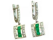 1,96 ct Colombia Esmeralda & Diamante Pendientes Largos en 18K Oro Blanco