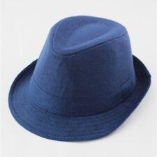 "Boy's 2-6 yrs Blue Linen Fedora Hat w/ Striped 25-36"" Suspenders -FREE Bow Tie"