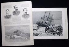BENJAMIN LEIGH SMITH EIRA ARCTIC EXPEDETION FRANZ JOSEPH LAND 2pp PRINTS 1882