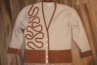 VTG The VIOLETTA sweater grey tan Lambs wool Angora free sz soft unique classic!