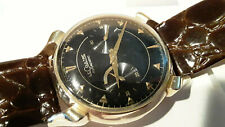 1950'S LECOULTRE FUTUREMATIC BUMPER STYLE 10K GOLD FILLED BLACK DIAL WRIST WATCH