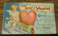 New Listing1910 Vintage Postcard To My Sweet Valentine Cupid Posted Kinmundy Illinois Il