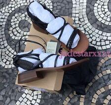 Black Wood Flat Zara Gladiator Leather Sandals 6 39 New BNWT