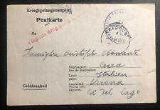1943 Germany Prisoner of War POW Camp Feldpost Postcard Cover to Verona Italy