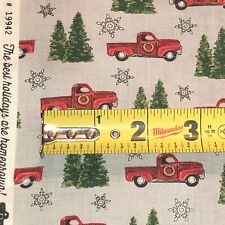 MODA Homegrown Holidays 100% cotton fabric by the YARD Christmas Red Truck Grey