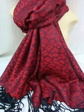 LEOPARD PRINT PASHMINA SCARF SHAWL WRAP COLOR RED