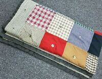 "Vintage Gingham Check Multi-color Hand Tied Button Quilt Blanket Throw 60"" x 60"""