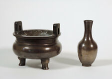 Antique Chinese Bronze Silver-Inlay Censer Insence Burner Set