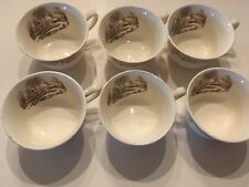 6 Currier & Ives Royal Monach First Quality China TEA CUPS