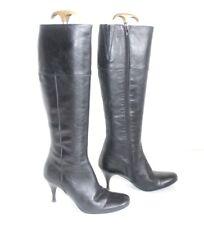 Women's VAGABOND Zip Knee High Stiletto Heel Black Real Leather Boots UK3.5 EU36