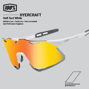 100% Percent Cycling Hypercraft Sunglasses - Soft Tact White / Gold 61039-004-53