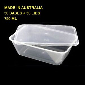 100 PC 750mL TAKEAWAY CONTAINER With LID DISPOSABLE PLASTIC CLEAR