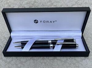 New Foray Ballpoint Pen & Pencil Set w/Box, Black & Chrome