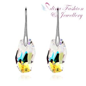 18K White Gold GP Made With Swarovski Crystal Luminous Green Dangle Earrings