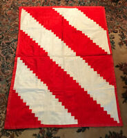 Log Cabin Ribbon Small Mini Lap Quilt Throw Wall Hanging Red & White Print