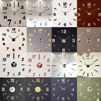 3D Large Wall Clock Mirror Sticker Big Watch Sticker Home Decor Unique Gift DIY