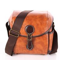 Vintage Waterproof PU Leather DSLR SLR Camera Case Messager Shoulder Bag Brown