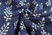 Indian Floral Print Hand Block Jaipuri Fabric Cotton Blue Coloured By Yard