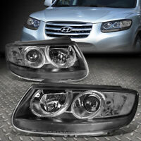 FOR 07-12 SANTA FE BLACK HOUSING CLEAR CORNER PROJECTOR HEADLIGHT HEAD LAMPS