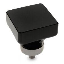 Cosmas Satin Nickel & Black Glass Square Cabinet Knob #6377SN-X