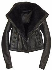 RICK OWENS Black Lamb Leather Shearling Fur Biker Moto Funnel Neck Jacket US 8
