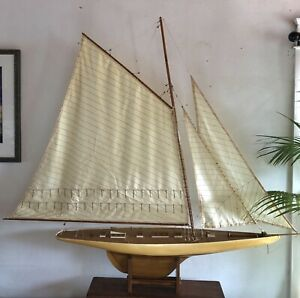 """Model Sailboat  Large Gaff Rig Sloop 1920s Lapworth style Classic   48"""" on deck"""