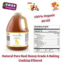 100% Organic Natural Pure Honey Grade A Baking Cooking Filtered, 80 Oz
