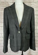 ANN TAYLOR LOFT Womens Blazer SZ 8 Wool Blend Black Gray Plaid Suit Jacket #8025