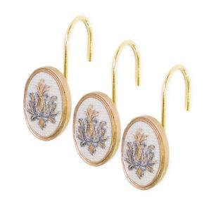 Popular Bath Savoy Bathroom Shower Curtain Hooks- Gold/Ivory