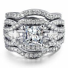 Womens Engagement Wedding Ring 3 Piece Sets Bridal Band Princess Cut Cubic #2WR