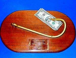 "Large Real 3D Fishhook Award Plaque fm ""KANSAS FORESTRY, FISH and GAME - 1959"""