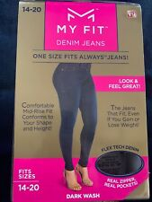 My Fit Jeans -As Seen On TV- Sz-14-20 Women's Stretch Denim Jeans Dark Wash