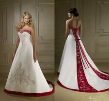 Red And White Satin Embroidery Wedding Dresses Vintage A Line Lace Bridal Gown