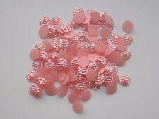100x10mm Flat Back  Flower Resin Pearls Craft Wedding Scrapbook Gems Peachy Pink