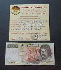 LIRE 100000 CARAVAGGIO 1995 II° TIPO XB A SPL SOSTITUTIVA certificata SUBALPINA