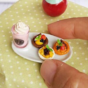 Dollhouse Miniatures Food Bakery Pie Tart Starbucks Coffee Set Mini Tiny Decor