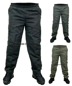 Mens Fleece LINED Elasticated Work TROUSERS Cargo Combat Pants Bottoms CLEARANCE