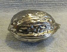 Heavy Nut Shaped Silver Nickel Plated Brass 4x5 Paperweight Nutcracker FREE S/H