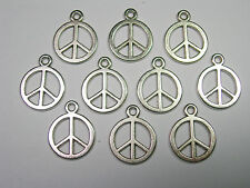 Antiqued Silver plated Peace Sign drops charms - 10  -15mm