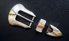 WESTERN COWBOY ANTIQUE GOLD FLORAL ENGRAVED BELT BUCKLE SET FIT 1