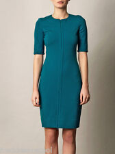 NWT $375 DIANE VON FURSTENBERG SATURN TURKISH TEAL PONTE KNIT SHEATH DRESS 12