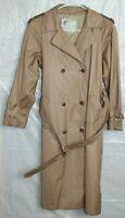 London Fog MainCoats Brown Trench Coat w Belt Womens Petite Size 8 P Overcoat