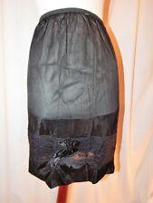 "Vintage unlabeled black half slip, embroidery over lace, 20-34"" waist Est M/L"