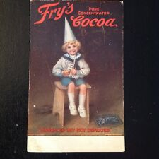 "FRY'S CHOCOLATE & COCOA  ANTIQUE LITHO ADVERTISING POSTCARD ""DISGRACED NOT ..."""