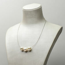 Lovely new handmade White  Kasumi Pearl Necklace 925 Sterling Silver chain
