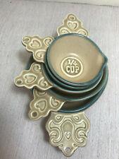 lot Pfaltzgraff Folk Art Handled Onion Soup Bowl & measuring cups spout blue tan