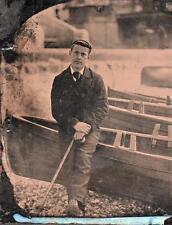 ORIG VICTORIAN Tintype / Ferrotype Photo c1860's GENTLEMEN NEXT TO BOAT PORTRAIT